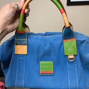 Dooney&bourke blue canvas satchel w multi handle